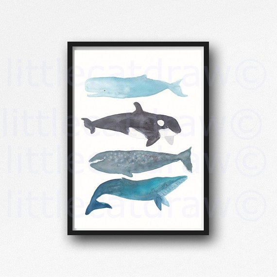 Prints For Wall Decor : Whale print watercolor painting bathroom wall decor