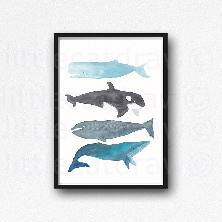 Whale Print Watercolor Print Painting Bathroom Wall Decor