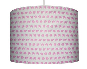Elephant Print, Pink on White, Cotton Fabric Drum Lampshade. Childs Bedroom, Girl's Bedroom, Nursery
