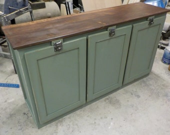 Beautiful Farmhouse Style Triple Trash Can Tip Out Cabinet