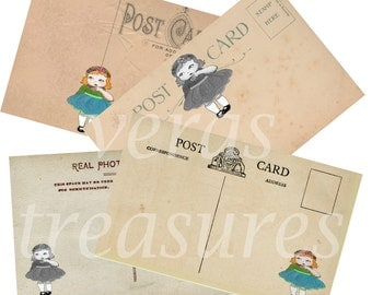 Vintage Style Postcards Digital Images for card making or Crafts with original vintage girl illustration