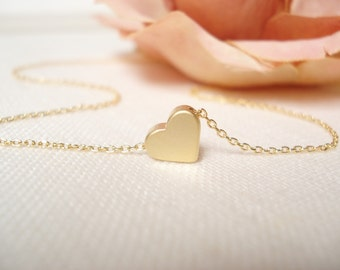 Gold or Rose gold heart necklace...dainty minimalist handmade necklace, everyday, simple, birthday, sorority, wedding, bridesmaid