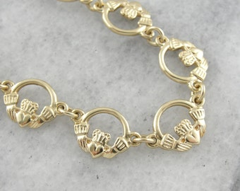 Irish Bride, Vintage Claddagh Bracelet in Yellow Gold  UX28NL-R