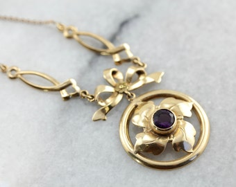 Floral Amethyst Necklace in Vintage Yellow Gold ZW8YRQ-N