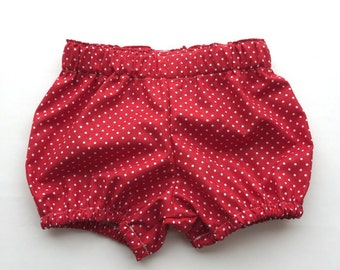 Red Polkadot Bloomer Shorts.  Shorts.  Bubble shorts. Bloomers.  Size 0-6 months to size 4.