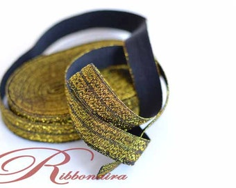 Black Gold 5/8 Glitter Elastic(silver thread ) FOE.Mix &MATCH Fold Over Elastic 1,5 or 10 yards ,  headband , hair ties