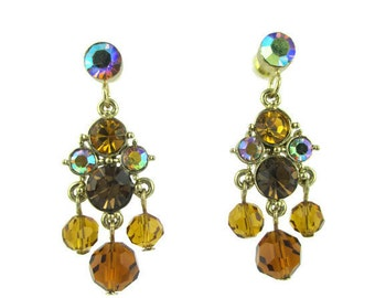 Vintage Amber Round Crystal Gold Tone Chandelier Earrings