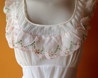 Sheer Ivory Vintage Trillium Lingerie Long Nightgown with Embroidered Pastel Pink Flowers and Pleated Bottom ca. 1960's-70's Size 36 Medium