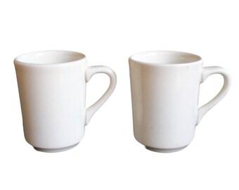 Vintage Homer Laughlin White Restaurant Ware Coffee Mugs Set of 2