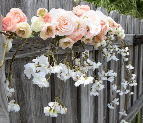 Wedding Arbor Flowers: Wedding Arch Garland Cascading Blossoms Orchids & Roses Silk