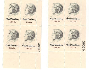 1978 Carl Sandburg US Postage Stamps 2 Unused Blocks of 4 & Poster