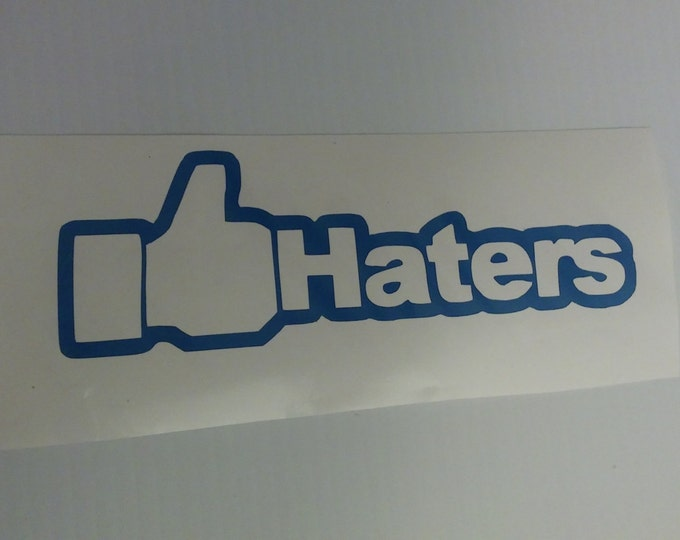 FLASH SALE BLUE Like Thumbs Up Haters Facebook Social Media Vinyl Decal