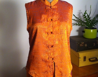 Bohemian Burnt Orange Silk Pyjamas/ Yoga/ Lounge Outfit