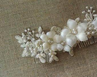 Bridal Headpiece,Bridal hair Comb, Pearl Headpiece,Ivory  Champagne Bridal Hair piece, Wedding Hair Piece - PATRICIA