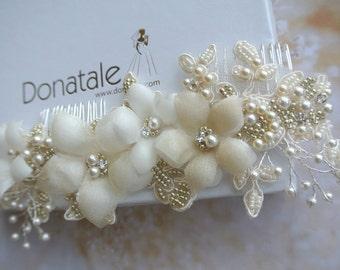 Wedding hair comb, Pearl Bridal hair comb,Bridal hair accessories, Wedding Hair Piece, Wedding hair accessories, Bridal sash - PATRICIA