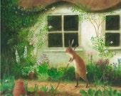 "Art Print of an Original Animal Painting: ""The Cottage Gardener"""
