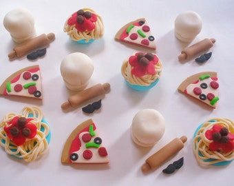 12 ITALIAN FOOD RESTAURANT Theme Fondant Cupcake Toppers