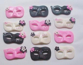 12 Edible Fondant MASQUERADE VENETIAN MASK Cupcake Toppers