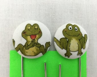 Frogs Covered Button Giant Paperclip, Bookmark, Organizer Clip