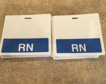Blue RN badge tag (horizontal)