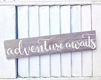 Inspirational Wall Art Adventure Awaits Reclaimed Wooden Sign-Travel Home Decor