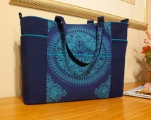 Gorgeous new and larger version of the Kate Tote: striking Ty Pennington fabric with royal blue and turquoise