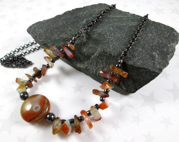 Agate Necklace - Orange Multi