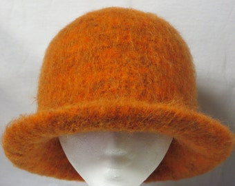 Hat Wool Felted Orange Leaves with Flared Brim