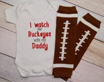 Ohio State Buckeye Baby One piece - Embroidered Baby Bodysuit - Buckeye Baby Shirt - Ohio State Baby Girl - Baby Boy - I watch the Buckeyes