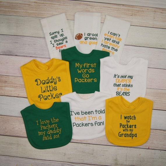 Green Bay Packers Baby Bib or Burp Cloth Packers Baby Girl