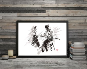 Samurai Poster, Warrior Sword Fight, Japanese Calligraphy Art, Surreal Painting, Watercolor Art