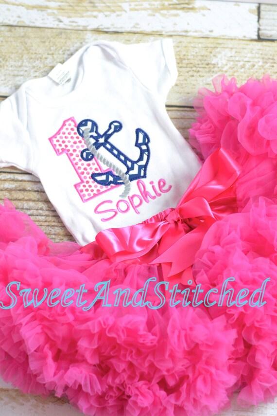 Girls Birthday Anchor Outfit - Anchor sailor Birthday Shirt - Girl's 1st 2nd 3rd 4th 5th birthday shirt, bloomer, tutu, or pettiskirt choice