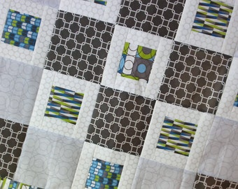 Unfinished Quilt Top Ready to Quilt Lap Throw Baby Boy Quilt Blanket Blue Green Gray White