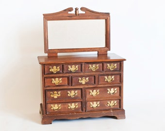 Vintage Miniature Dresser Jewelry Box, Doll Size Chest of Drawers with Mirror, Salesman Sample, Doll Furniture Jewelry Chest, Made in Japan