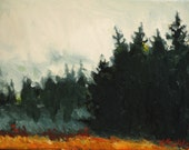Orange Autumn Field with Evergreen Pine Trees on a Misty Day- Original Landscape Impressionist Oil Painting