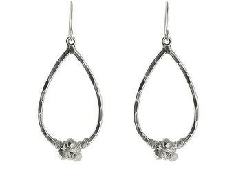 Pyrite Nugget Teardrop Earrings In Silver, Silver Earring, Pyrite Teadrop Earring, Pyrite Teadrop Earring