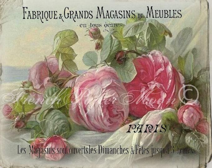 French Shabby Chic Digital Roses, Vintage French Collage Sheet, Vintage French Graphic Roses, French Pillow Rose Digital