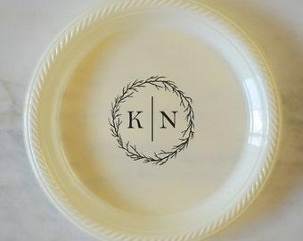 branch wreath initials plastic plates custom plates party plates wedding plates