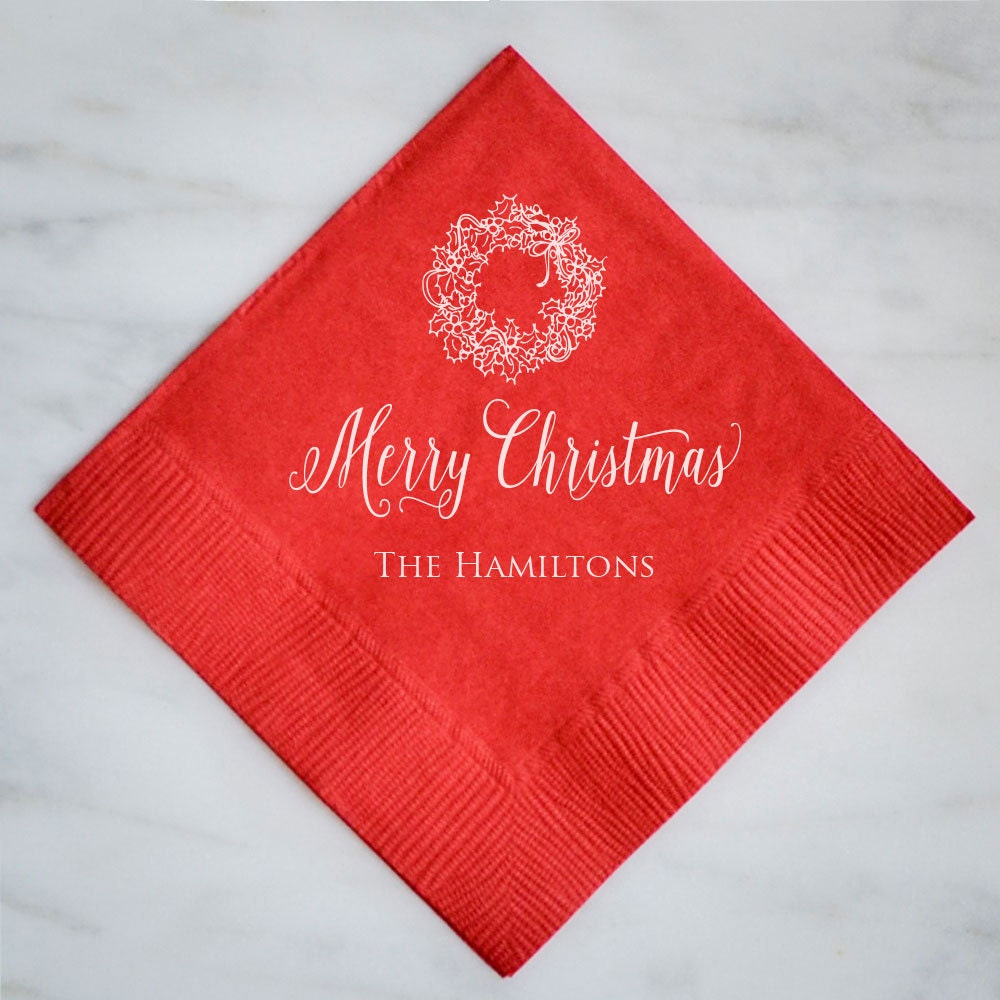 Personalized Holiday Party Napkins set of 100 Custom