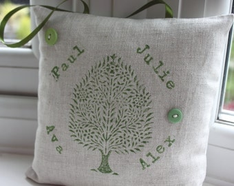 Personalised family tree pillow - hand printed hanging decoration in green on natural linen