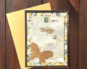 Thank You Card, Thank You, Thanks, Handmade Thank You Card, Handmade Card, Butterfly, Gold,