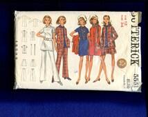 1960's Butterick 5551 British Invasion Stewardess Chic Wardrobe Pattern Size 12