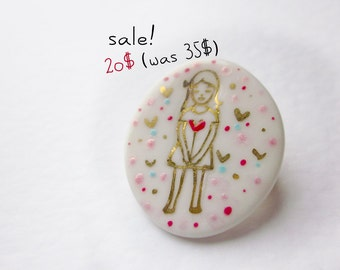 porcelain brooch cute girl