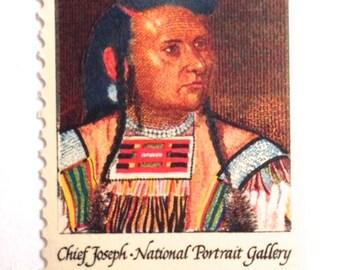 10 Unused Native American Chief Joseph Postage Stamps // Vintage Nez Perse Chief Unused Stamps