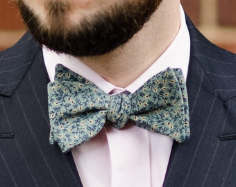 All cotton smooth green floral self tie bow tie