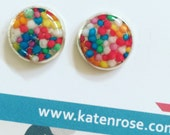 100s and 1000s - sprinkles - set in resin - candy - lolly - stud earrings - studs - Kawaii Kitsch