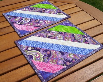 Quilted Mug Rugs: purple and green snack mats, scrappy mini placemats, batik large coasters, reversible mug mats, quilted candle mats