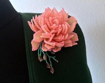 Beaded peony brooch - OOAK artisan jewellery - Handmade pink peony pin brooch - Pink flower brooch
