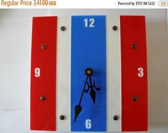 CIJ Patriotic clock red white and blue stripe 10 inch acrylic wall clock Clock ID 1