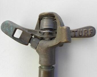 """Vintage Brass Impact Lawn Sprinkler """"Turf"""""""